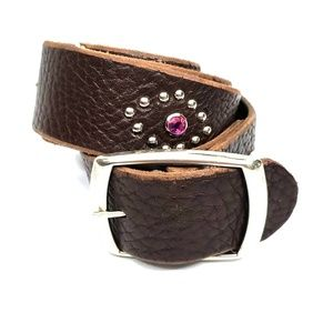 Brown Leather Studded Belt with Pink Stones L